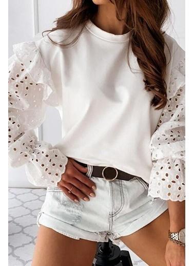 BLACK&GRACE Ekru Kolları Lazer Kesim Güpür Bluz Beyaz
